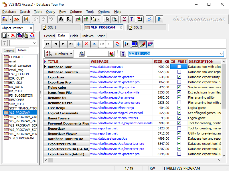 Click to view Database Tour Pro 8.1.8.29 screenshot
