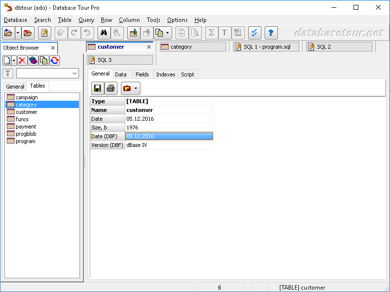 Working with Databases in Screenshots - Database Tour
